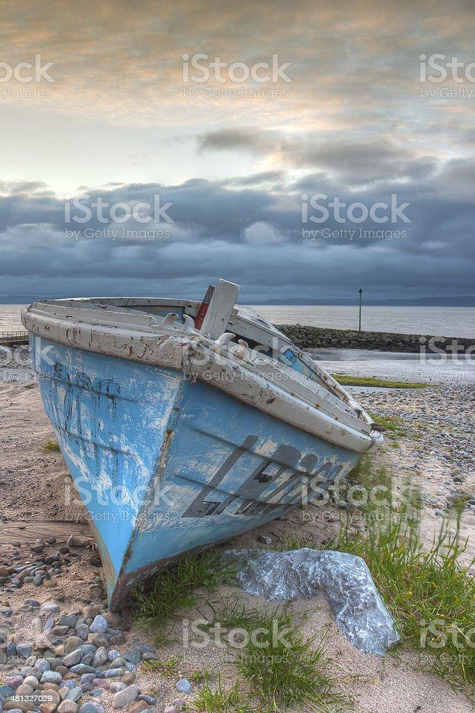 Damaged fishing boat stock photo