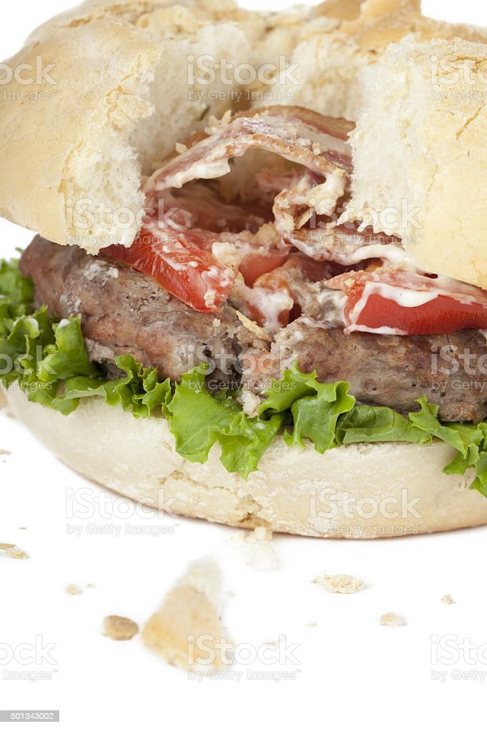 damaged hamburger stock photo