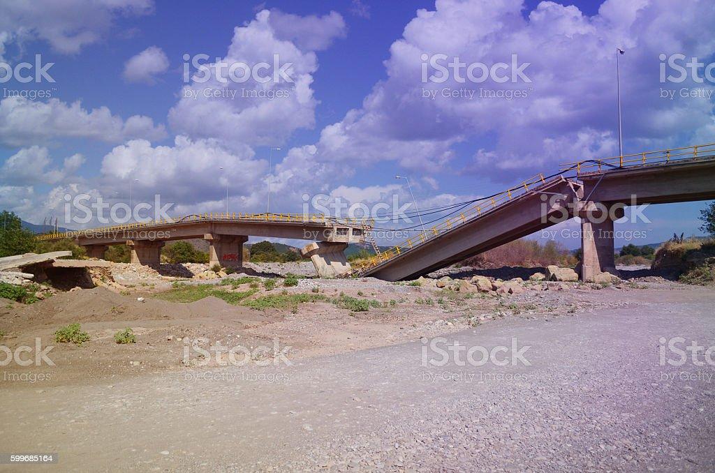 damaged highway, bridge stock photo