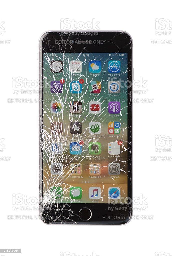 Damaged iphone on white background stock photo