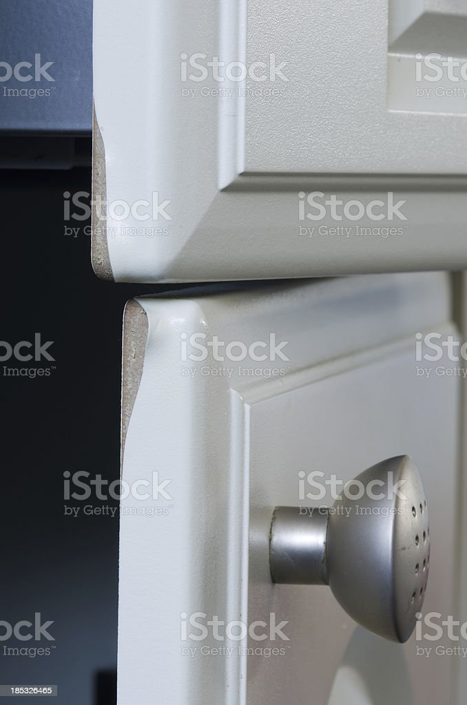 Damaged kitchen doors stock photo