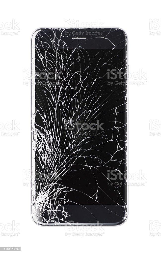 Damaged modern phone on white background stock photo