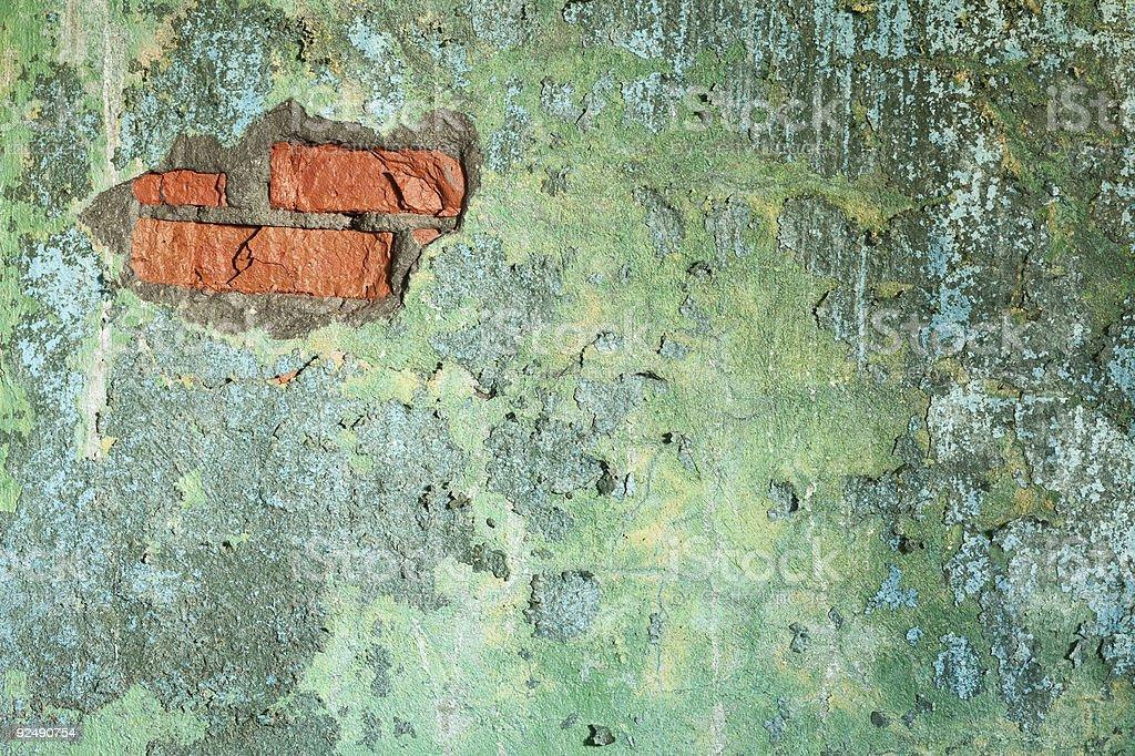 Beschädigte alte Ziegelmauer mit Loch Lizenzfreies stock-foto
