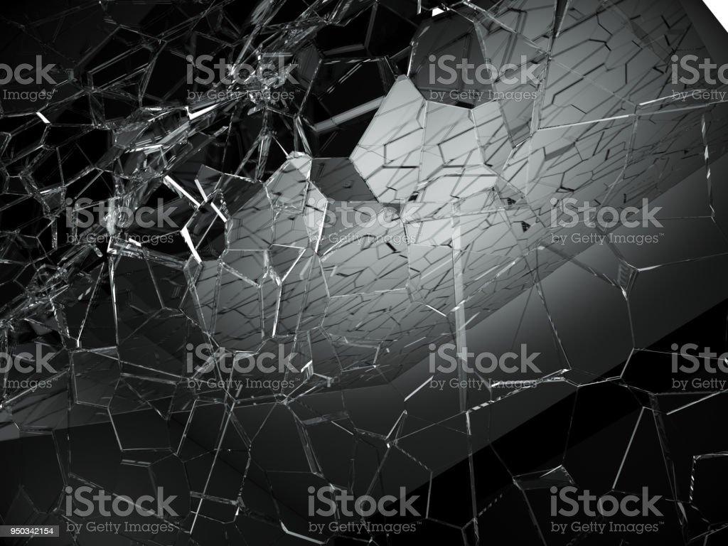 Damaged Or Broken Glass On Black 3d Rendering 3d
