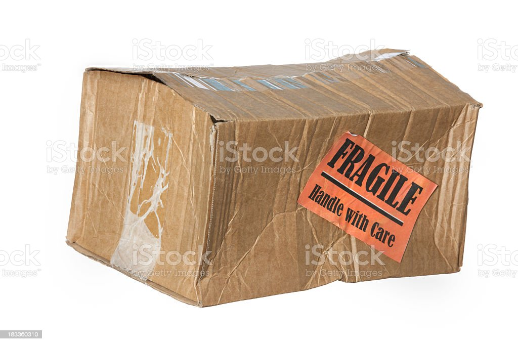 Damaged parcel royalty-free stock photo