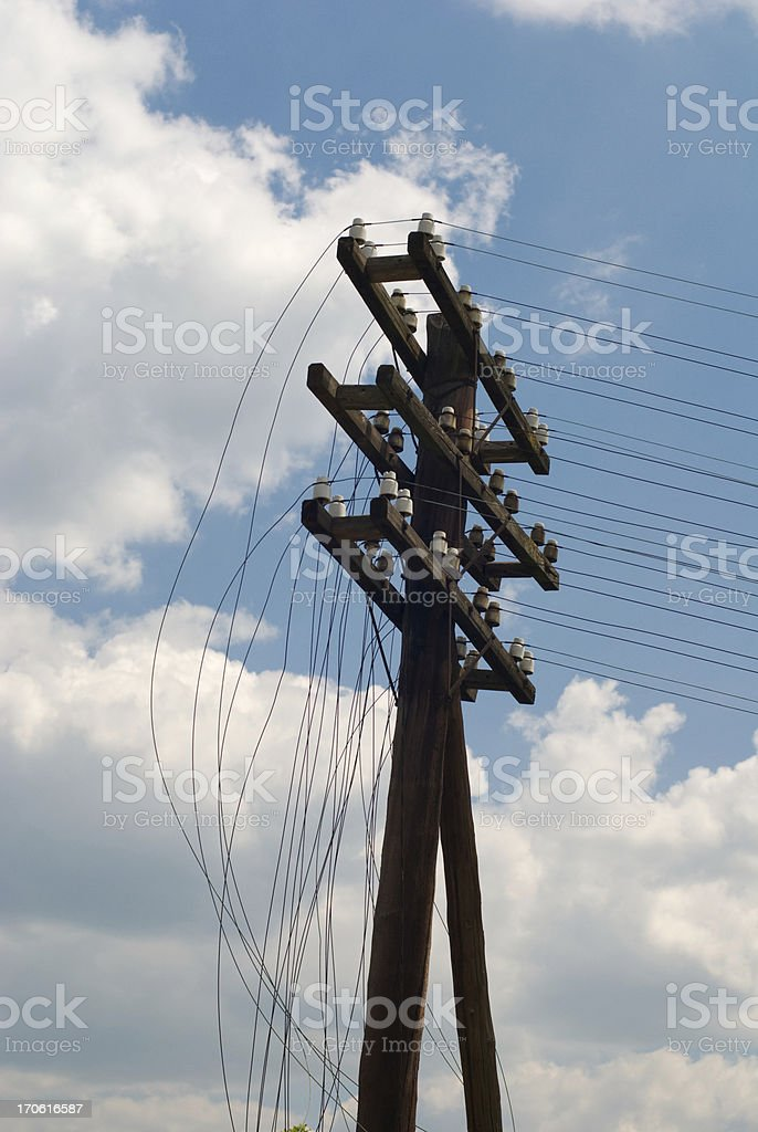 damaged power line royalty-free stock photo