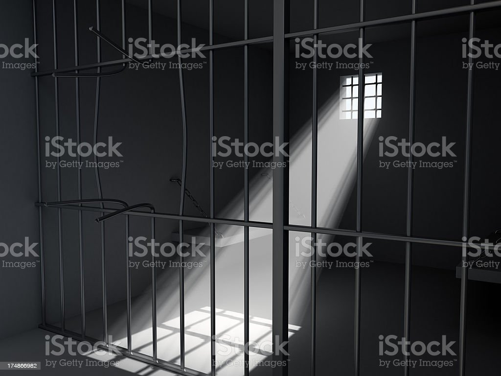 Damaged Prison Bars stock photo