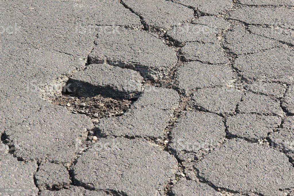 Damaged road close-up  Asphalt Stock Photo