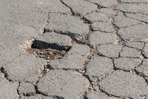 Damaged Road Closeup Stock Photo - Download Image Now