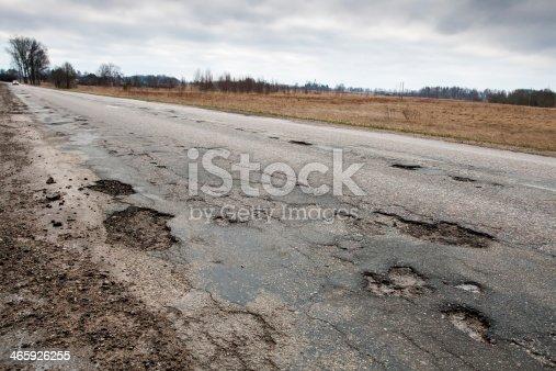 Badly damaged country asphalt road after winter