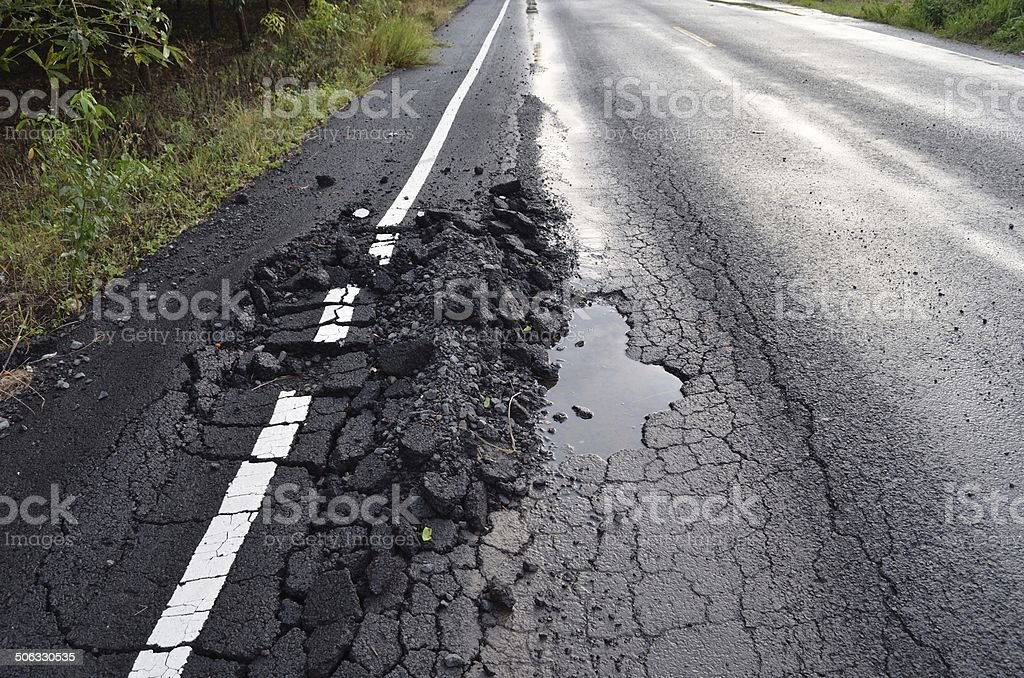 damaged road stock photo