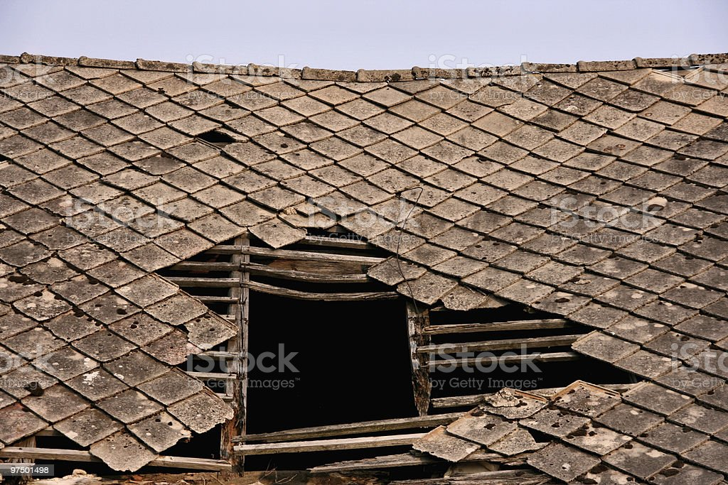 Damaged roof royalty-free stock photo