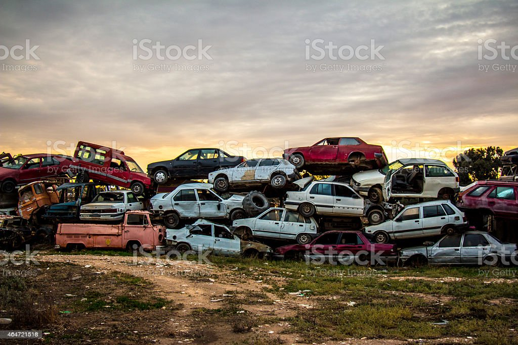Damaged rusted car scraps stock photo