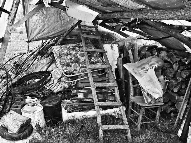 beschädigte halle im hinterhof (bild nr. 01) - mülltonnenhäuschen stock-fotos und bilder