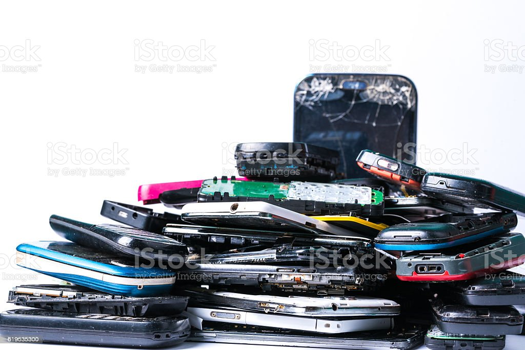 Damaged Smartphones for Recycling stock photo