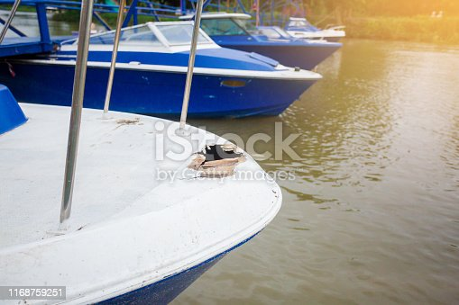 Damaged speedboat is parking on the river. White and blue speedboat damaged. Thailand.