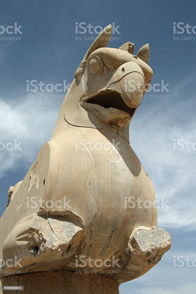 Damaged stone griffin on a pillar at Persepolis stock photo