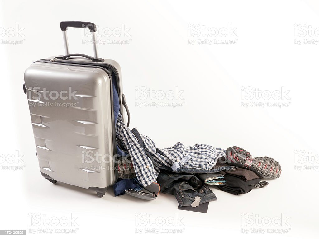 Damaged Suitcase Spinner loses its casual content stock photo