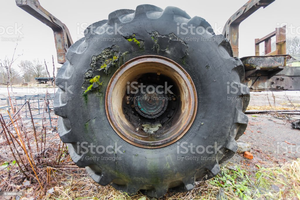 Damaged track tire (tyre) stock photo