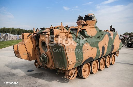 istock Damaged Turkish Armored Personel Carrier 1137400395