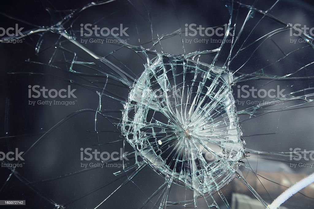damaged windshield stock photo