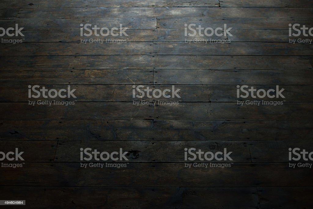 Damaged Wood Plank Flooring stock photo