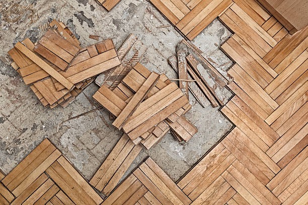 Damaged wooden floor stock photo