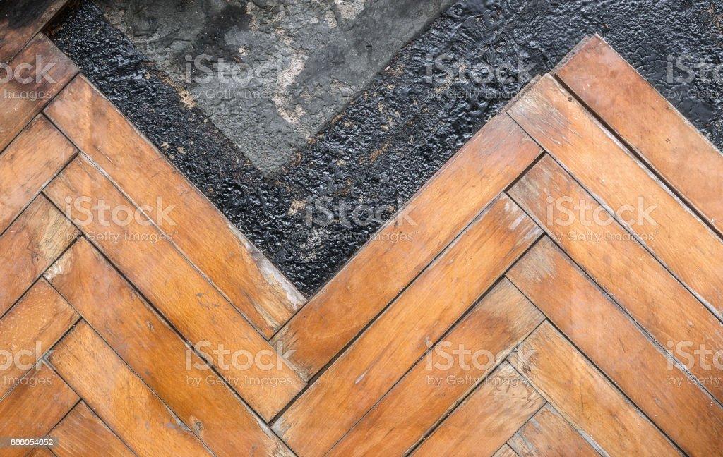 Damaged wooden floor stock photo