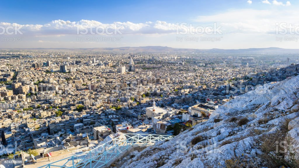 Damascus (City of Jasmine), the capital and the second largest city of Syria after Aleppo. stock photo