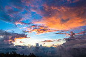 istock Damatic sunset sky in sapa - Vietnam Stock image 813898758