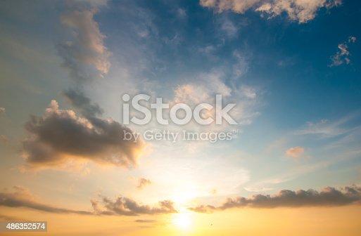 istock Damatic sunset sky 486352574