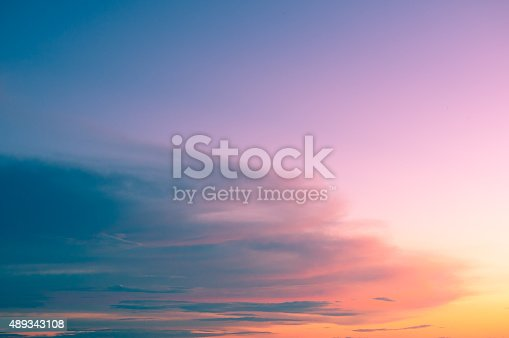 istock Damatic sunset sky 489343108