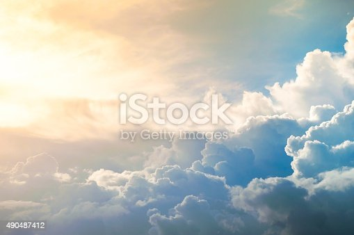 istock Damatic sunset sky 490487412