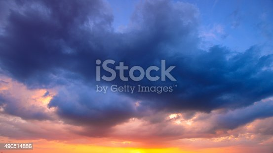 istock Damatic sunset sky 490514886
