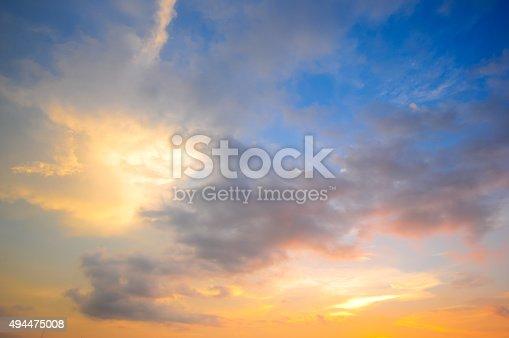 istock Damatic sunset sky 494475008