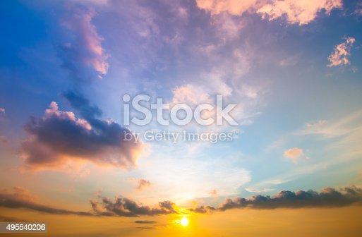istock Damatic sunset sky 495540206