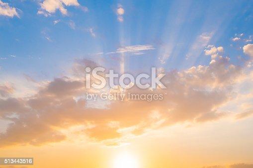 istock Damatic sunset sky 513443516