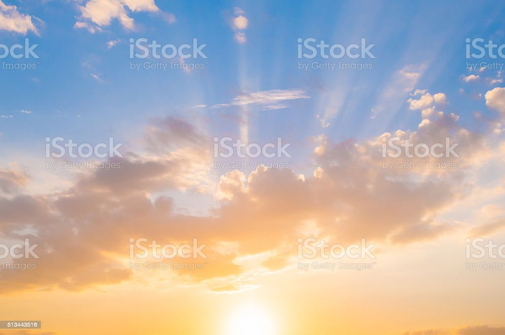 Damatic sunset sky stock photo