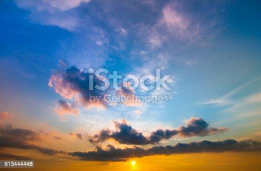 istock Damatic sunset sky 513444448