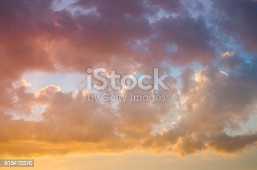 istock Damatic sunset sky 513472270