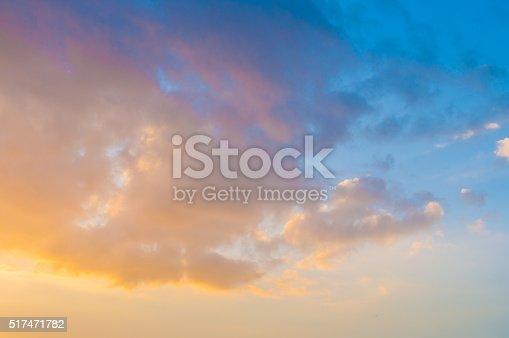 istock Damatic sunset sky 517471782