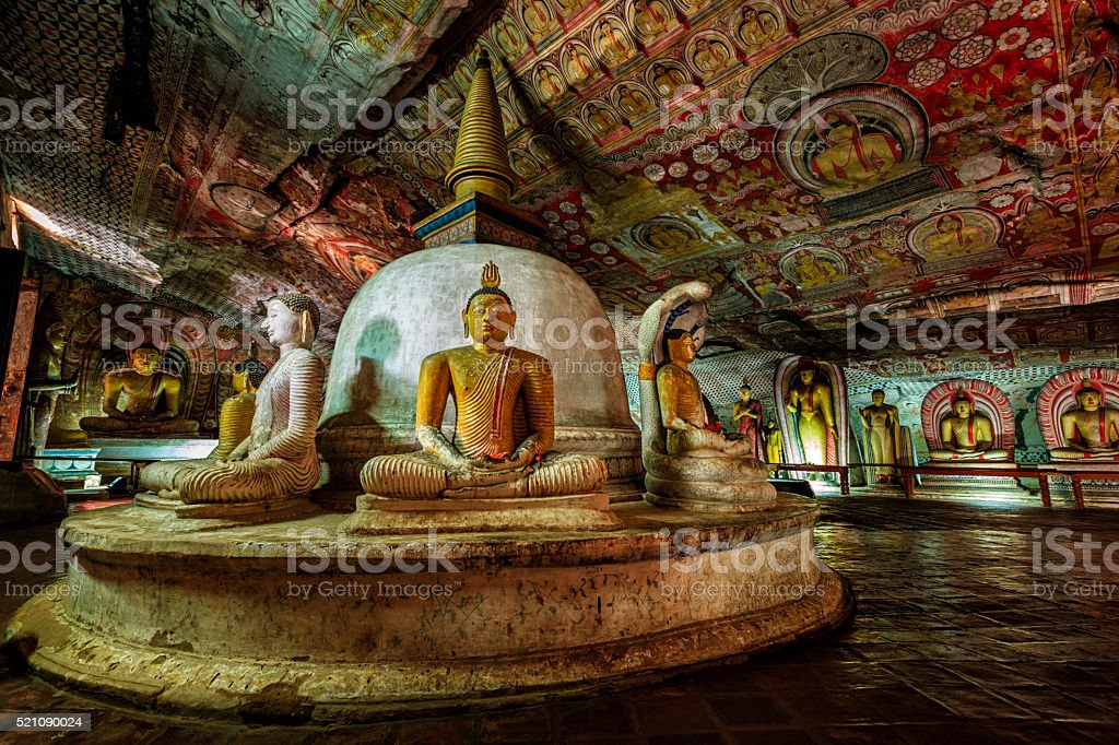 Dambulla cave temple - Buddha statues, Sri Lanka stock photo