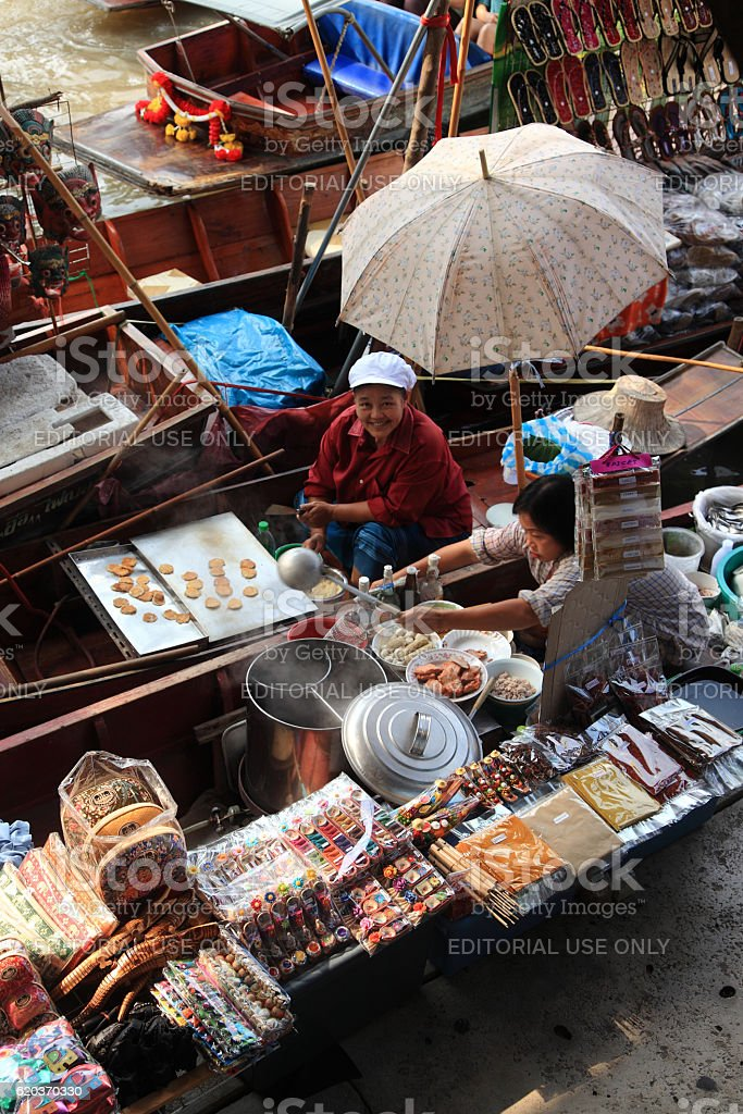 Pływający rynek w Damnoen Saduak zbiór zdjęć royalty-free