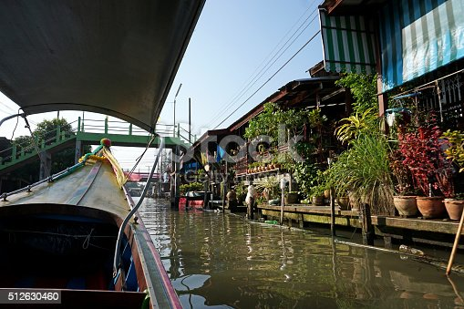 Damnoen Saduak, streets, homes and floating market, Thailand.
