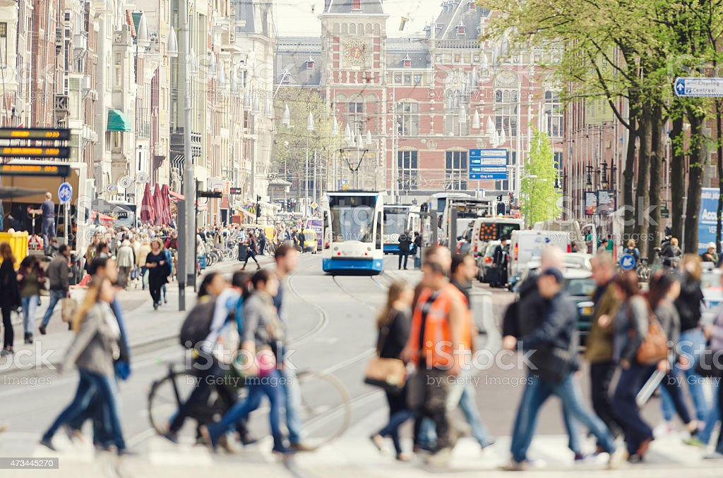 Damrak and central station Amsterdam city center stock photo