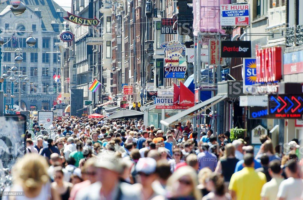 Damrak in Amsterdam stock photo