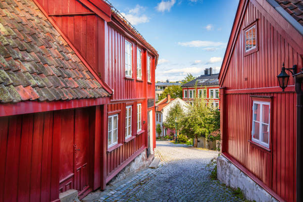 Damstredet Street Oslo Old Town Norway stock photo