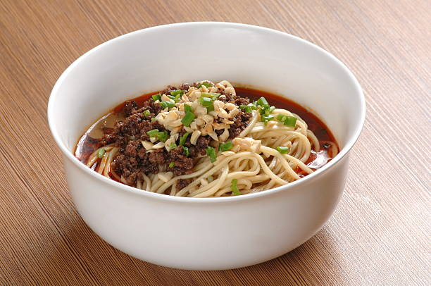 Dan dan noodles with  minced pork and peanut (担担面) stock photo