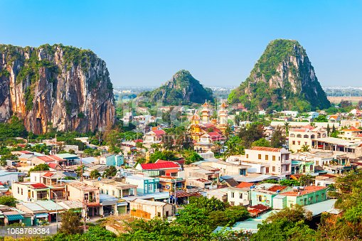 Danang marble mountains is the most important tourist destination in Da Nang city in Vietnam