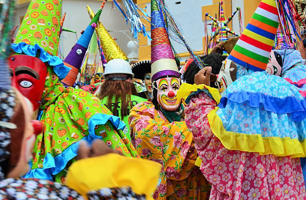 Dance by Mary Magdalene Xico, Veracruz, Mexico. July 20, 2015. Dancers during the celebration of Santa Maria Mangdalena the day of placing the floral arch in the church. veracruz stock pictures, royalty-free photos & images